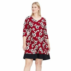 Gilli Dress 1X Burgundy Floral Fit & Flare A98-05P